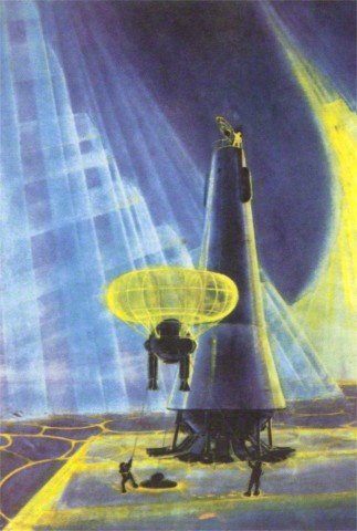 Soviets Landing on Unknown Planet --- Image by © Found Image Press/Corbis